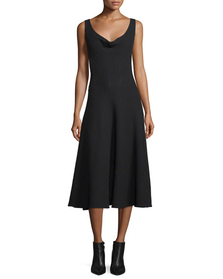 Derek Lam Sleeveless Cowl-Neck Midi Dress, Black