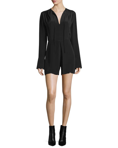 Long-Sleeve Short Silk Jumpsuit, Black