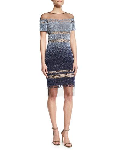 Short-Sleeve Signature Ombre Sequin Dress, Light Blue/Navy