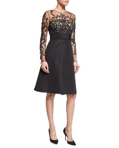 Long-Sleeve Illusion Filigree-Embroidered Dress, Black