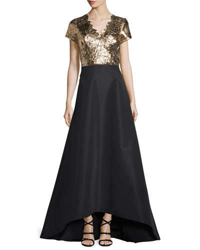 Metallic Combo Gown w/Silk Faille Skirt, Black