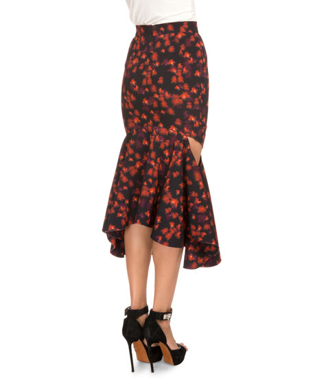 Floral-Print Draped Flounce-Hem Skirt, Red