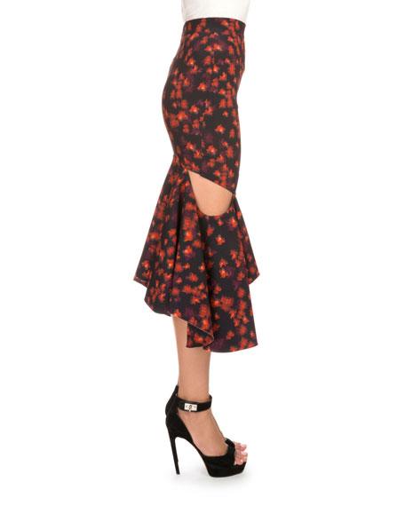 Floral-Print Draped Flounce-Hem Skirt, Red