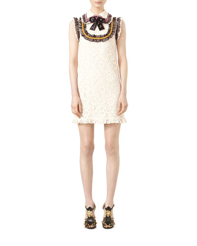 Cluny Lace Dress with Embroidery, Bone