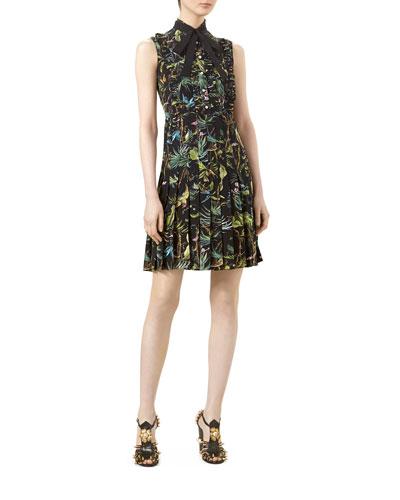 Tropical-Print Pleated Dress, Tropical