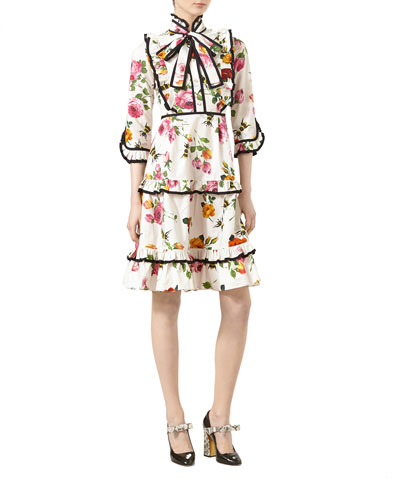 Rose-Print Cotton Poplin Ruffled Dress, Ivory