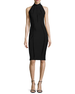 Fitted Mock-Neck Halter Dress, Black