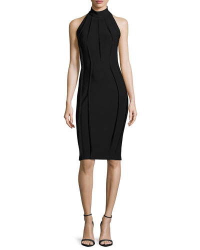 Fitted Mock-Neck Halter Dress, Black