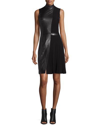 Sleeveless Mock-Neck Leather Combo Dress, Black