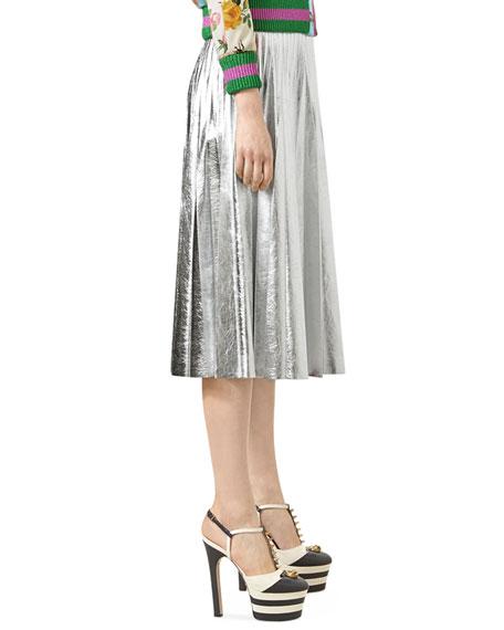 Metallic Leather Plissé Skirt, Silver