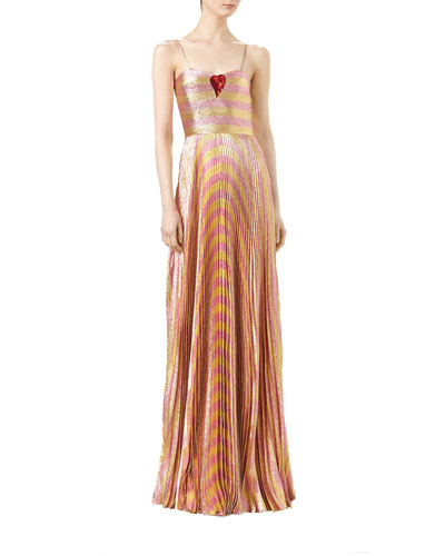 Baiadera Striped Lurex® Gown, Gold Blush
