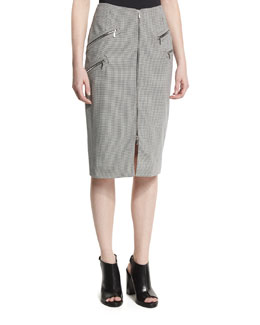 Zip-Front Houndstooth Pencil Skirt, Navy/Off White