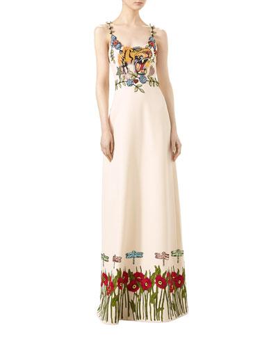 Gardenia Cady Crepe Wool-Silk Gown