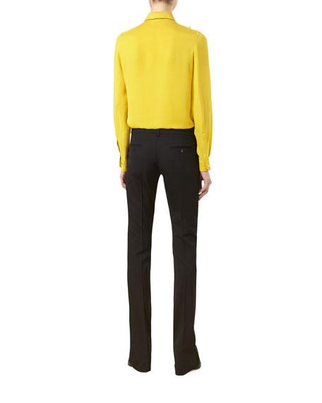 Pleated Silk Satin Shirt, Tulip Yellow