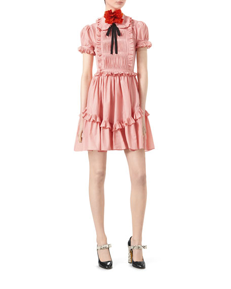 Cotton Muslin Short-Sleeve Dress with Ruffles, Rose