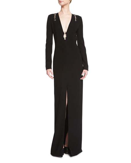 Thierry Mugler Long-Sleeve Open-Back Gown w/Metallic Hardware,