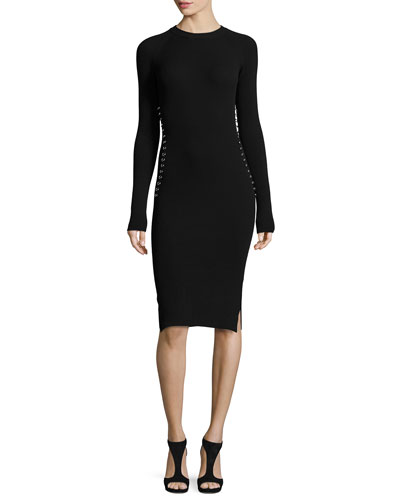 Long-Sleeve Knit Dress w/Grommet Hardware, Black