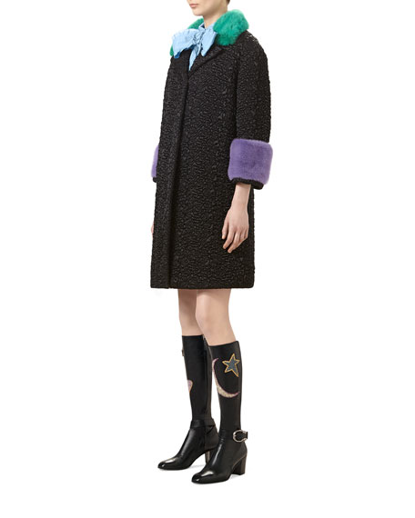 Quilted Nylon Coat with Mink Fur, Black