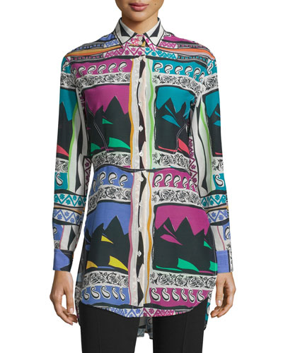 Abstract-Print Long-Sleeve Blouse, White/Multi