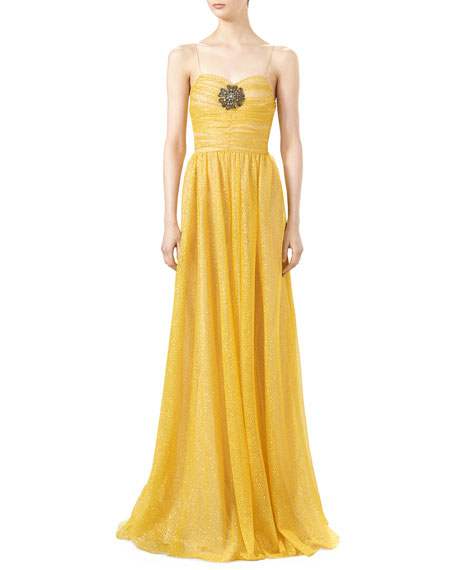 c8b1775b Gucci Iridescent Glitter Tulle Gown with Jeweled Patch, Tulip Yellow