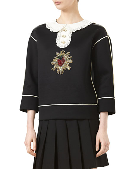 Embroidered Bonded Cotton Jersey, Black