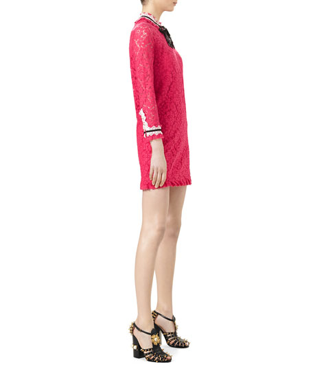 1ad5d4b5d Gucci 3/4-Sleeve Embroidered Cluny Lace Dress, Pink