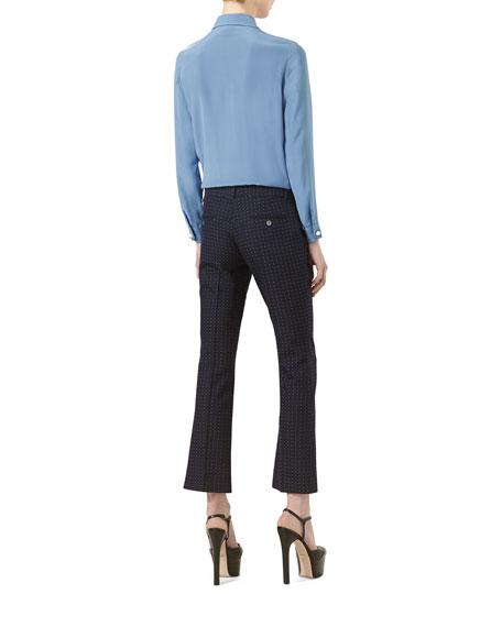 Silk Ruffled Shirt, Sky Blue