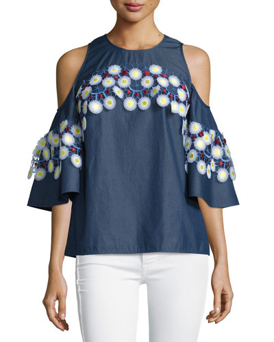 Embroidered Chambray Cold-Shoulder Top, Indigo