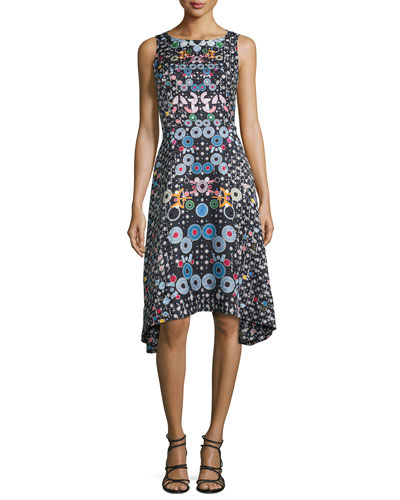 Sleeveless Asymmetric Printed Silk Dress, Black/Multi