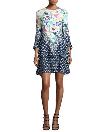 Mixed-Print 3/4-Sleeve Flutter Dress, Navy