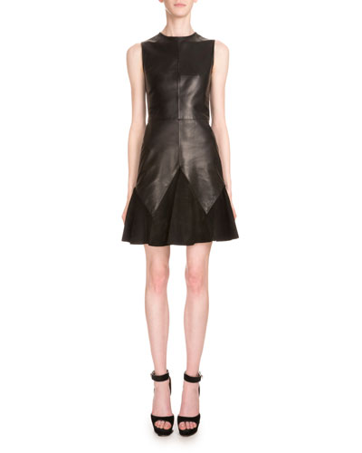 Sleeveless Leather & Suede A-Line Dress, Black