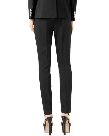 Wool Straight-Leg Pants, Black