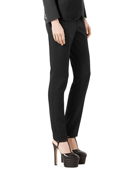 Wool Straight-Leg Pants, Black