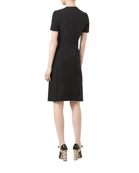 Short-Sleeve Cady Crepe Wool Dress, Black