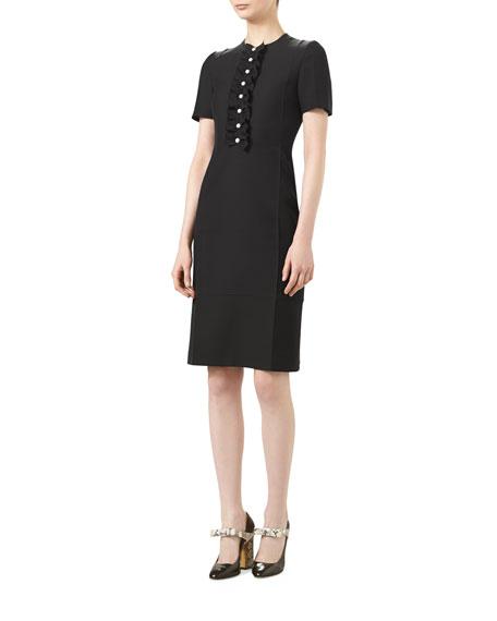 ca3cb0ff6fe Gucci Short-Sleeve Cady Crepe Wool Dress