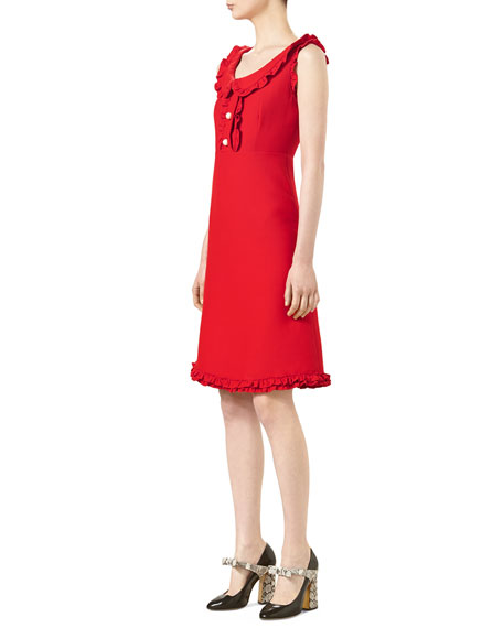 Cotton-Silk Crepe Dress, Intensive Red