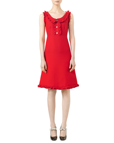 Gucci Cotton-Silk Crepe Dress, Intensive Red