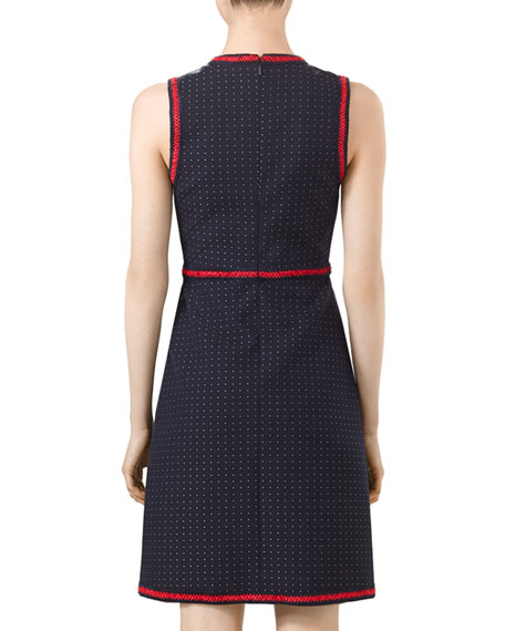 Polka-Dot Sleeveless Dress, Ink/Red/White