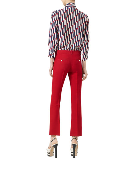 Arrow-Print 3/4-Sleeve Shirt, Blue/Red
