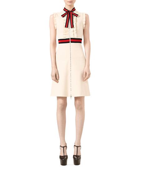 Jersey Dress with Web Trim, Almond Flower