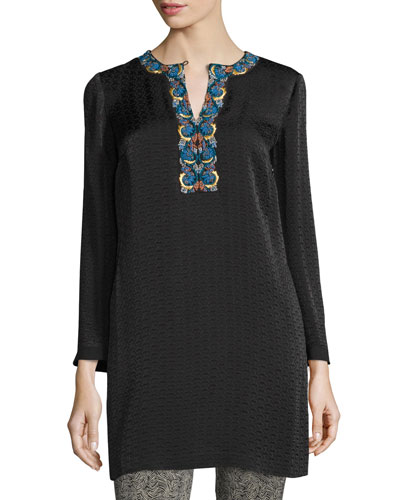 Embroidered Cloque Caftan Dress, Black