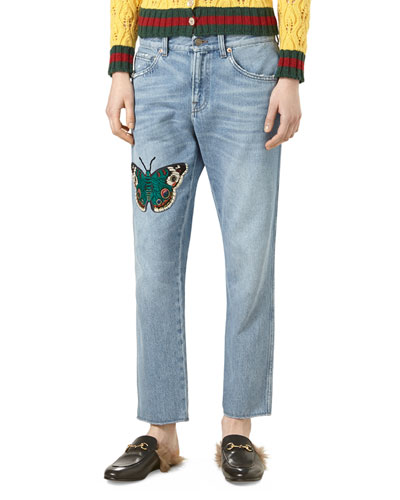 Embroidered Denim Pants, Light Blue/Multi