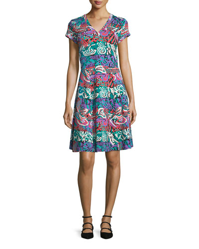 Printed Jersey Cap-Sleeve Dress, Green/Multi