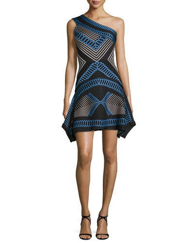 One-Shoulder Asymmetric Jacquard Dress, Black