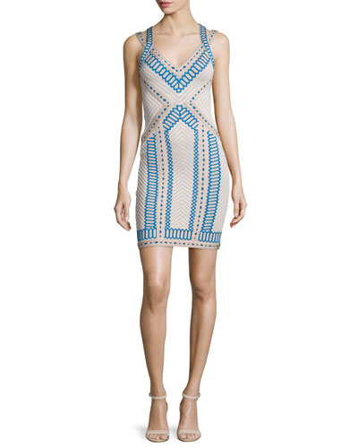 Embroidered Jacquard Double-Strap Dress, Nude