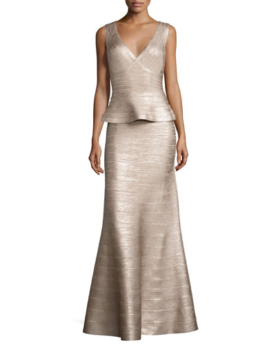 Sleeveless Peplum Bandage Gown, Rose Gold