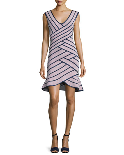 Sleeveless Striped Flounce Dress, Dusty Azalea/Black
