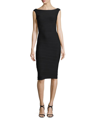 Mid-Length Boat-Neck Bandage Dress, Black