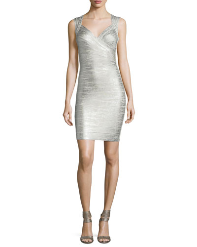 Deep-V Sleeveless Bandage Dress, Silver