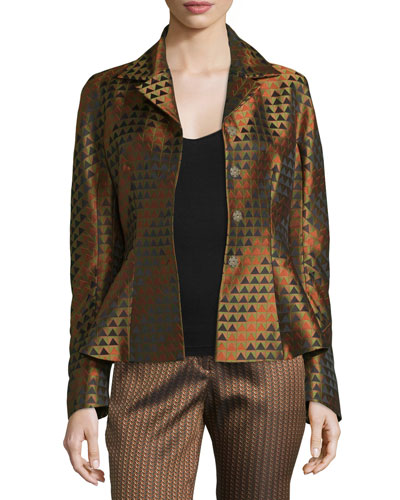 Triangle Jacquard Peplum Jacket, Gold/Multi